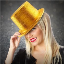48 of Adults Gold Glitter Top Hat