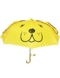 24 of Children Yellow Umbrella With U Shape Handle Printed Puppy