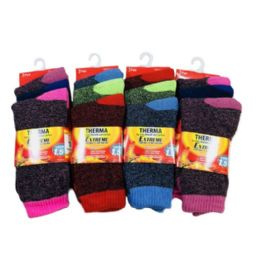 24 of Women's Thermal Crew Socks 9-11 [assorted]