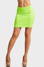 72 of Sofra Ladies Seamless Striped Skirt In Neon Lime