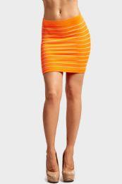 72 of Sofra Ladies Seamless Striped Skirt In Neon Orange