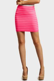 72 of Sofra Ladies Seamless Striped Skirt In Pink