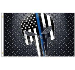 24 of Blue Lives Matter Flag [skull]