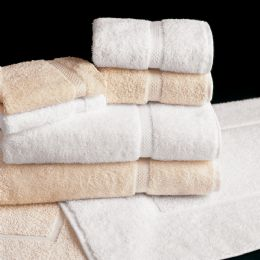 12 of Deluxe Size Heavy Weight White And Ecru Colored Bath Towel Size 27x50