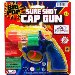 """96 of 6"""" Clear MultI-Color Cap Toy Gun(revolver) On Blister Card"""