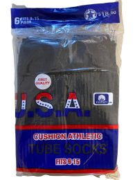 120 of Usa Men's Sport Tube Socks, Referee Style, Size 9-15 Solid Black