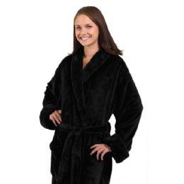3 of Tahoe Fleece Shawl Collar Robe In Black