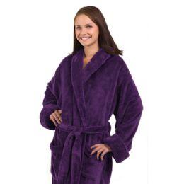 3 of Tahoe Fleece Shawl Collar Robe In Purple