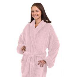 3 of Tahoe Fleece Shawl Collar Robe In Light Pink