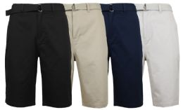 48 of Mens Belted Cotton Chino Shorts Assorted Colors Ans Sizes