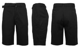 24 of Mens Belted Cotton Chino Shorts Assorted Sizes Solid Black
