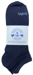 48 of Yacht & Smith Mens 97% Cotton Light Weight No Show Ankle Socks Solid Navy