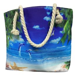 24 of Nautical Rope Large Beach Tote Bag With Inner Pocket , Assorted Summer Prints