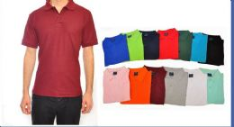 24 of Mens Solid Color Assorted Size Polo Shirts