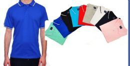 24 of Mens Fashion Solid Color Assorted Size Polo Shirts