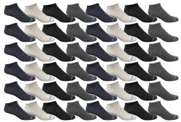 48 of Yacht & Smith Kids Poly Blend Light Weight No Show Ankle Socks Solid Assorted 4 Colors Size 6-8