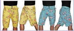 24 of Men's Floral Printed Cargo Short