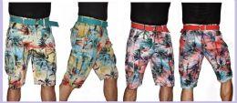 24 of Men's Tropical Printed Cargo Short