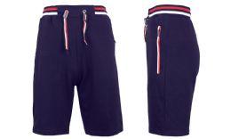 24 of Men's Fleece Lounge Sweat Shorts With Zipper Pockets & Trim Tech Design Solid Navy