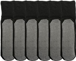 6 of Yacht & Smith Mens Loose Fit Gripper Bottom Diabetic NoN-Skid Slipper Black Socks, Grippy Hospital Sock, Size 10-13