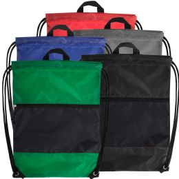 48 of 18 Inch Drawstring Bag Large Zippered Section - 5 Colors