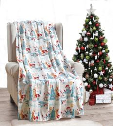 24 of Forest Friends Holiday Throw Design Micro Plush Throw Blanket 50x60 Multicolor
