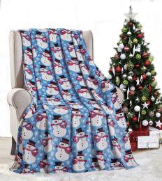 24 of Christmas Snowman Holiday Throw Design Micro Plush Throw Blanket 50x60 Multicolor