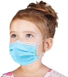 50 of Disposable Kids 3ply Solid Blue Face Mask For Health Protection