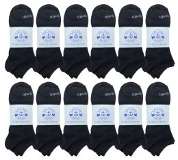 240 of Yacht & Smith Mens Comfortable Lightweight Breathable No Show Sports Ankle Socks, Solid Black Bulk Buy