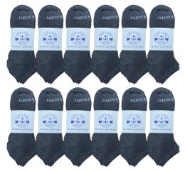 240 of Yacht & Smith Mens 97% Cotton Comfortable Lightweight Breathable No Show Sports Ankle Socks, Solid Gray Bulk Buy
