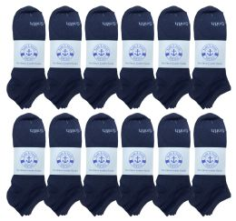 240 of Yacht & Smith Mens Comfortable Lightweight Breathable No Show Sports Ankle Socks, Solid Navy Bulk Buy