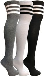 3 of Yacht & Smith Womens Over The Knee Socks Referee Style Thigh High Knee Socks Striped Black, White And Gray