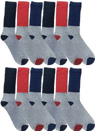 12 of Yacht & Smith Thermal Diabetic Crew Socks For Men, Marled, Ringspun Cotton, Seamless Toe, Loose Top
