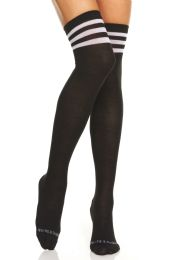 24 of Yacht & Smith Womens Over The Knee Referee Thigh High Boot Socks Black With White Stripes