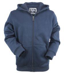 12 of Boys Long Sleeve Light Weight Fleece Zip Up Hoodie In Navy