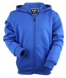 12 of Boys Long Sleeve Light Weight Fleece Zip Up Hoodie In Royal Blue
