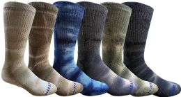 6 of 6 Pairs of Womens Tie Dye Cotton Colorful Soft Crew Socks, Bright Colorful Boot Sock, Bulk