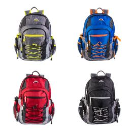"""24 of 19"""" Multi Compartment Laptop Bulk Backpacks with Bungee Face in 4 Assorted Colors"""