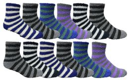 60 of Yacht & Smith Men's Warm Cozy Fuzzy Socks, Stripe Pattern Size 10-13