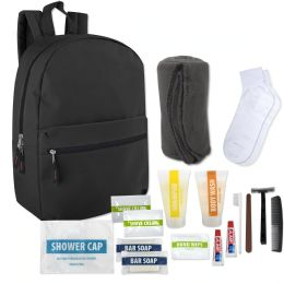 12 of Hygiene Kit Includes Backpack Socks Blanket And 15 Toiletries