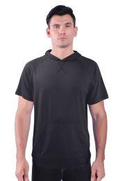 72 of Mens Pullover Hoody Tee Shirt With Kangaroo Pocket In Black