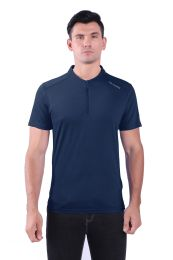 72 of Mens Solid Crew Short SLeeve Tee With Zipper Chest Opening In Navy