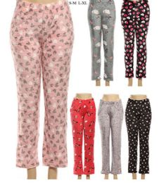 36 of Girls Warm Printed Pajama Pants In Assorted Color