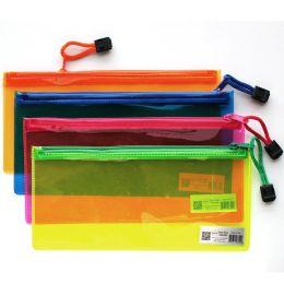 96 of PVC Zipper Pencil Pouch Assorted Neon Colors