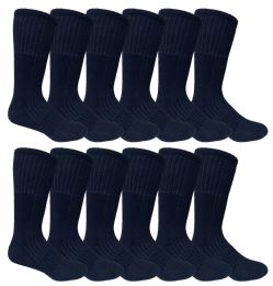 12 of Mens Military Grade Thick Padded Terry Lined Cotton Socks, Ribbed, Dry Wicking, Heavy Duty Black Crew Sock