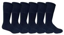 6 of Mens Military Grade Thick Padded Terry Lined Cotton Socks, Ribbed, Dry Wicking, Heavy Duty Black Crew Sock