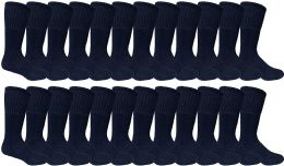 24 of Mens Military Grade Thick Padded Terry Lined Cotton Socks, Ribbed, Dry Wicking, Heavy Duty Black Crew Sock