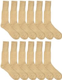 12 of Mens Military Grade Thick Padded Terry Lined Cotton Socks, Ribbed, Dry Wicking, Heavy Duty Crew Sock (Khaki, 12 Pack)