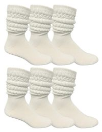 6 of Yacht & Smith Mens Cotton Extra Heavy Slouch Socks, Boot Sock Solid White