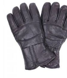 24 of Men's Black Leather Winter Glove